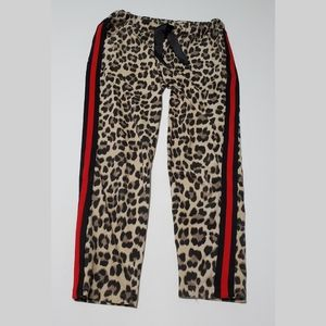 leopard jogger pants red stripe down the side